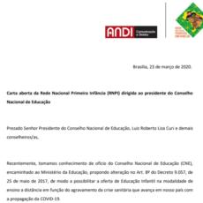 Carta aberta da Rede Nacional Primeira Infância dirigida ao presidente do CNE