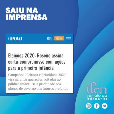 Eleições 2020: Roseno assina carta-compromisso com ações para a primeira infância.